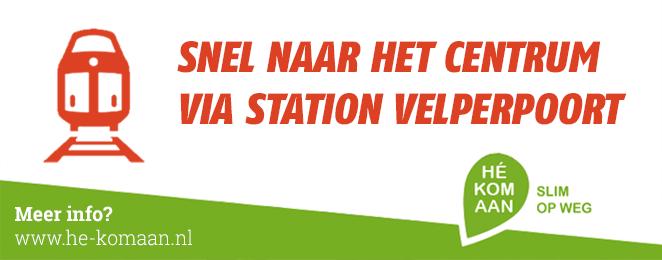 Banner He Kom Aan Slim op weg Snel naar het centrum via station Velperpoort